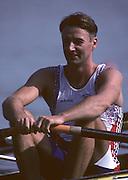 Barcelona, SPAIN.   GBR M4X, Peter HAINING, 1992 Olympic Rowing Regatta Lake Banyoles, Catalonia [Mandatory Credit Peter Spurrier/ Intersport Images]