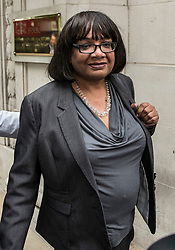 © Licensed to London News Pictures. 02/05/2017. London, UK. Shadow Home Secretary DIANE ABBOTT is seen leaving Milbank Studios in Westminster after an appearance on the Daily Politics program. DIANE ABBOTT made a number of costing errors during a radio interview about  a Labour election pledge on increased policing numbers.  Photo credit: Peter Macdiarmid/LNP