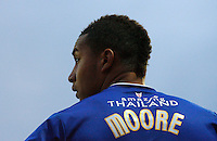 Leicester City's Liam Moore looks on..Football - npower Football League Championship - Watford v Leicester City - Saturday 3rd November 2012 - Vicerage Road - Watford..
