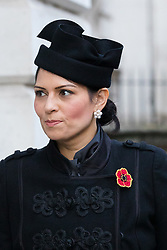 © Licensed to London News Pictures. 10/11/2019. London, UK. Home Secretary Priti Patel walks through Downing Street to attend the Remembrance Sunday Ceremony at the Cenotaph in Whitehall. Remembrance Sunday events are held across the country today as the UK remembers and honours those who have sacrificed themselves in two world wars and other conflicts. Photo credit: Vickie Flores/LNP