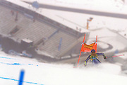 SOELDEN, AUSTRIA. OCTOBER 17 2020:  1st Women's Giant Slalom as part of the Alpine Ski World Cup in Solden on October 17, 2020; Run 1, Marta Bassino (ITA) in action in the fog in front of an empty tribune ( Pierre Teyssot/ESPA Images-Image of Sport)