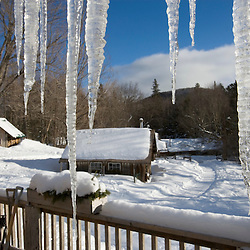 A snowy scene at the AMC's Little Lyford Pond Camps in Maine's Northern Forest.  Near Greenville.
