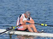 Reading. United Kingdom.  Men's single sculls, A Final.  Jack BEAUMONT,   2014 Senior GB Rowing Trails, Redgrave and Pinsent Rowing Lake. Caversham.<br /> <br /> 17:41:46  Saturday  19/04/2014 <br /> <br />  [Mandatory Credit: Peter Spurrier/Intersport<br /> Images]