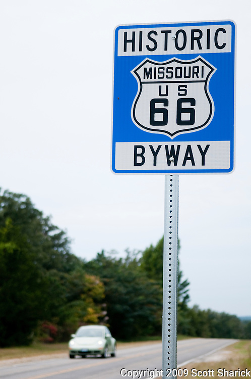 A sign designating the Historic Route 66 in Missouri. Missoula Photographer