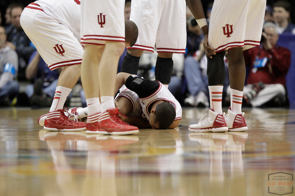 08 March 2012: Indiana Guard Verdell Jones III (12)  as the Indiana Hoosiers played the Penn State Nittany Lions in a college basketball game during the Big 10 Men's Basketball Championship in Indianapolis