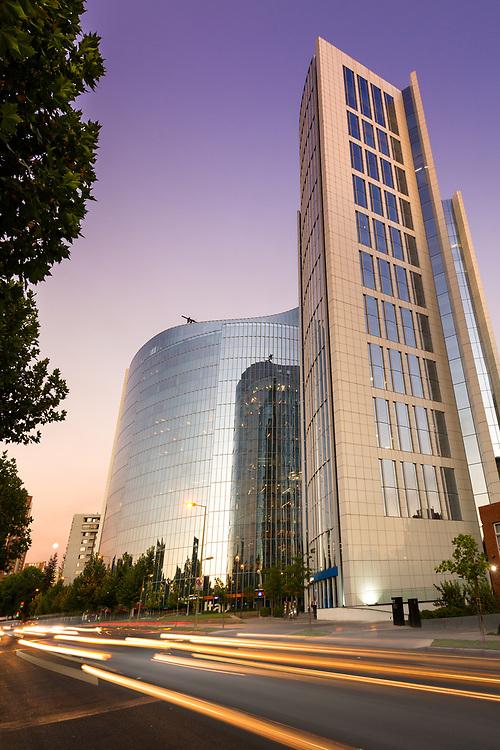 Santiago de Chile, Región Metropolitana, Las Condes, Chile, South America - Modern corporate buildings in Los Militares Avenue at the wealthy district of Las Condes in Santiago.