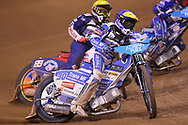 Leon Madsen leads the way in the final during the 2019 Adrian Flux British FIM Speedway Grand Prix at the Principality Stadium, Cardiff, Wales on 21 September 2019.