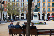 People sitting in Placa Independencia girona Girona, Catalonia, Spain