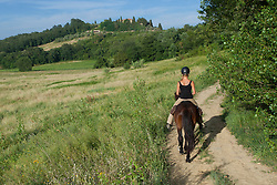 Europe, Italy, Tuscany, Volterra, woman horseback riding on Icelandic Pony