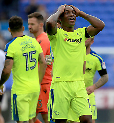 Derby County's Andre Wisdom celebrates his sides win at the end of the game.