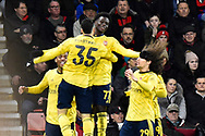 Goal - Bukayo Saka (77) of Arsenal celebrates after he scores a goal to give a 0-1 during the The FA Cup match between Bournemouth and Arsenal at the Vitality Stadium, Bournemouth, England on 27 January 2020.