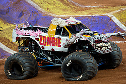 December 16, 2017 - Sao Paulo, Sao Paulo, Brazil - Zombie lands after a jump during a round of racing. Monster Jam was held at Corinthians Stadium, in Sao Paulo, Brazil. (Credit Image: © Paulo Lopes via ZUMA Wire)