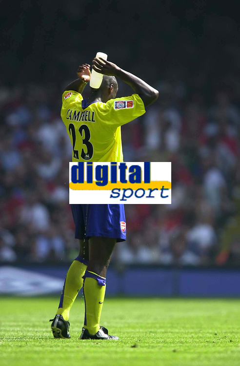 Photo: Richard Lane.<br />Arsenal v Manchester United. The FA Charity Shield 2003. 10/08/2003.<br />Sol Campbell cools down.