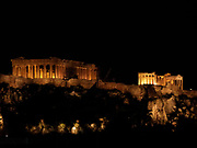 The Acropolis at night, the ancient citadel located on a high rocky outcrop above the city of Athens