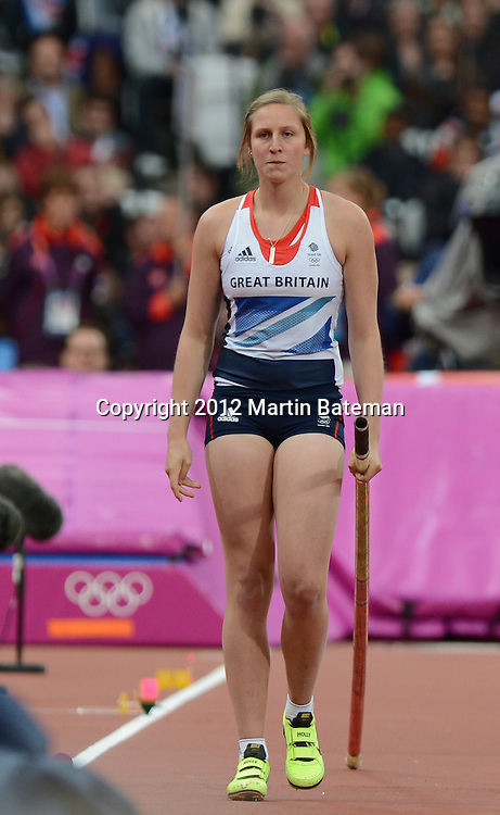 Holly Bleasdale competes in the women's pole Vault at the London Olympics 6 August 2012