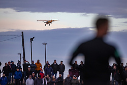 A low flying plane passes near the ground. Arbroath 2 v 0 Montrose, Scottish Football League Division One played 10/11/2018 at Arbroath's home ground, Gayfield Park.