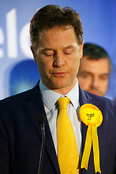© Licensed to London News Pictures. 08/05/2015. SHEFFIELD, UK. Nick Clegg delivering a speech after being re-elected to Sheffield Hallam in 2015 General Election at English Institute of Sport in Sheffield on Friday, 8 May 2015. Photo credit: Tolga Akmen/LNP