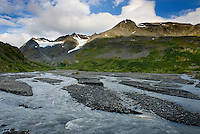 Glacial stream at Thompson Pass Chugach Mountains Alaska