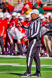NORMAL, IL - October 16:  Referee Aaron Adams during a college football game between the NDSU (North Dakota State) Bison and the ISU (Illinois State University) Redbirds on October 16 2021 at Hancock Stadium in Normal, IL. (Photo by Alan Look)