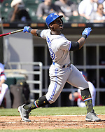 CHICAGO - MAY 19:  Jonathan Davis #49 of the Toronto Blue Jays bats against the Chicago White Sox on May 19, 2019 at Guaranteed Rate Field in Chicago, Illinois.  (Photo by Ron Vesely)  Subject:  Jonathan Davis