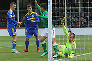 Sean Brennan of Republic of Ireland (11) claims a goal during the UEFA European Under 17 Championship 2018 match between Bosnia and Republic of Ireland at Stadion Bilino Polje, Zenica, Bosnia and Herzegovina on 11 May 2018. Picture by Mick Haynes.