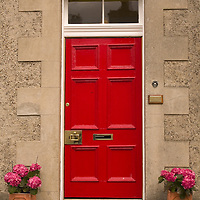 Red Door in the historical village of Culross, West Fife, Scotland<br />