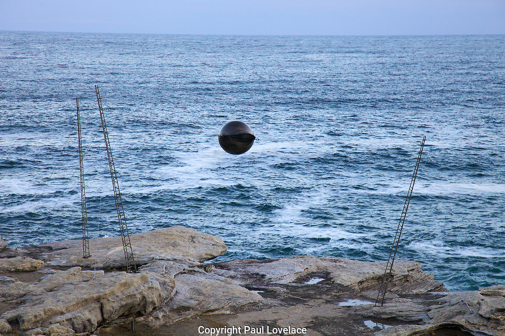 The world's largest free-to-the-public outdoor sculpture exhibition, Sculpture by the Sea, Bondi. .Mick Marris-Sky Wire.