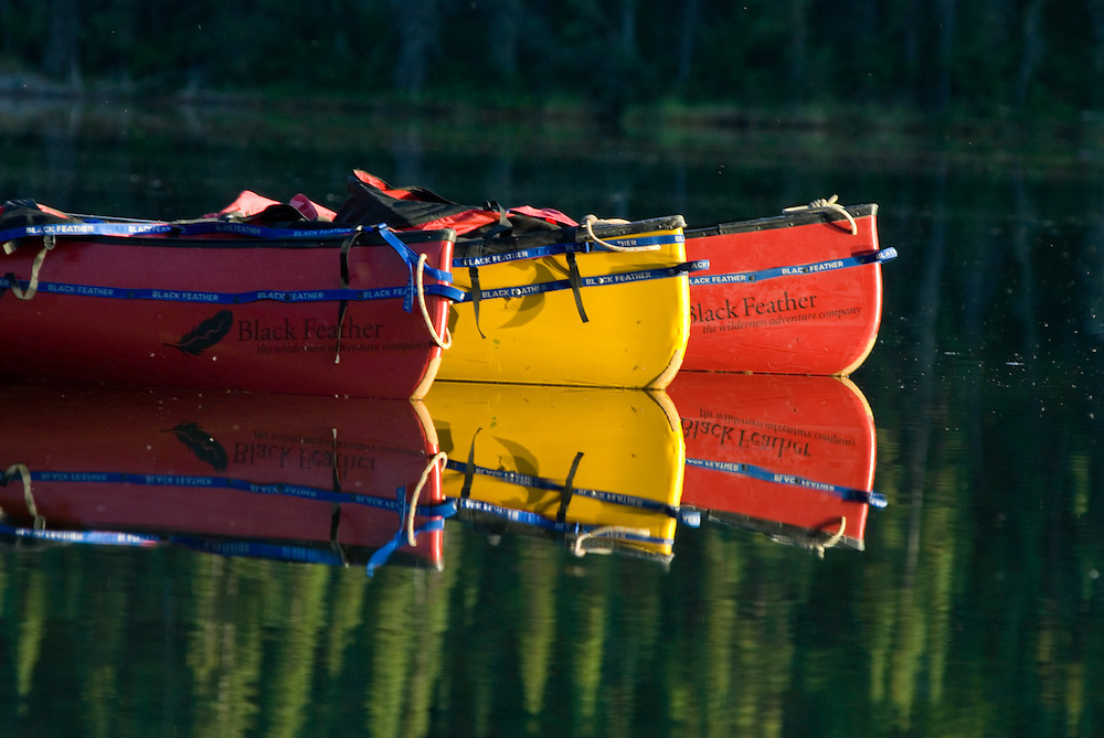 Canoes at rest on Haywire Lake in the Northwest Territories of Canada.
