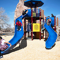Students from St. Michael Indian School play on the Navajo Nation Zoo's playground expansion during the grand opening celebration Wednesday, March 20.