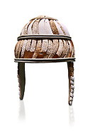 Minoan boar's tusk helmet with cheek guards,1450-1300 BC, Heraklion Archaeological Museum, white background..<br /> <br /> This restored boars tusk helmet was described in Homers Iliad being worn by Cretan hero Meriones. It bis believed that the helmet was ceremonial depicting the rank of an officer. .<br /> <br /> If you prefer to buy from our ALAMY PHOTO LIBRARY  Collection visit : https://www.alamy.com/portfolio/paul-williams-funkystock/minoan-art-artefacts.html . Type -   Heraklion   - into the LOWER SEARCH WITHIN GALLERY box. Refine search by adding background colour, place, museum etc<br /> <br /> Visit our MINOAN ART PHOTO COLLECTIONS for more photos to download  as wall art prints https://funkystock.photoshelter.com/gallery-collection/Ancient-Minoans-Art-Artefacts-Antiquities-Historic-Places-Pictures-Images-of/C0000ricT2SU_M9w
