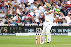 South Africa's Faf du Plessis hits out during day three of the Second Investec Test match at Trent Bridge, Nottingham.