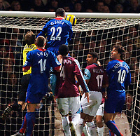 Photo: Daniel Hambury.<br />West Ham United v Manchester United. The Barclays Premiership. 27/11/2005.<br />Manchester's John O'Shea scores the second goal.