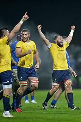 November 18, 2017 - Bucharest, Romania - Romania's Mihai Macovei (captain) celebrates during International Friendly  Rugby match at National Stadium ''Arcul de Triumf'', on November 18th 2017, in Bucharest, Romania. (Credit Image: © Alex Nicodim/NurPhoto via ZUMA Press)