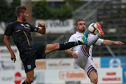 July 28, 2018 - Trento, TN, Italy - Manuel Scavone and Leonardo Capezzi during the Pre-Season friendly between Sampdoria and Parma, in Trento on July 28, 2018, Italy  (Credit Image: © Emmanuele Ciancaglini/NurPhoto via ZUMA Press)