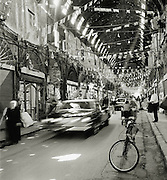 The main passage in the Al-Hamidiyah Souq, its tin roof riddled with bullet holes, in Damascus, Syria