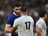 Rugby Union - 2020 Guinness Six Nations Championship - France vs. England<br /> <br /> France's Charles Ollivon with England's Ellis Genge at the final whistle, at The Stade de France, Paris.<br /> <br /> COLORSPORT/ASHLEY WESTERN