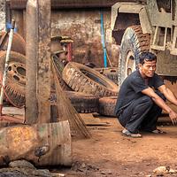 Truck driver taking a break in Snuol, Cambodia