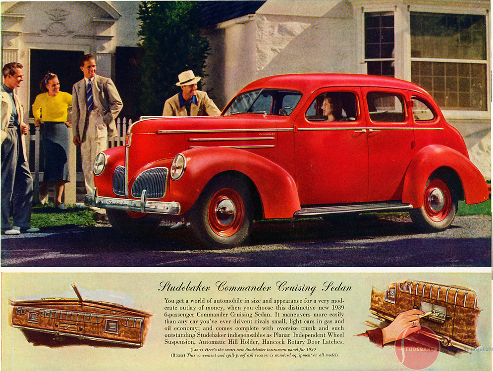 Sales literature for 1939 Studebaker Commander Sedan.