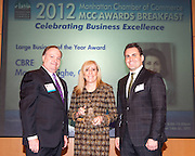 Large Business of the Year award to CBRE. Joseph F. Kirk, Wells Fargo (l); Kyle Schoppmann, CBRE (c); and Felix Malitsky, MetLife (r)Manhattan Chamber of Commerce's 2012 Awards Breakfast celebrated business excellence by recognizing outstanding leaders. The awards were presented by Well Fargo and hosted at Con Edison's Conference Center on January 31, 2013.