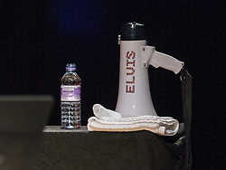 © Licensed to London News Pictures . 14/07/2014 .  Manchester , UK . Megafone with ELVIS emblazoned on the side , on a table on the stage . Elvis Costello performs on stage at the Bridgewater Hall this evening (Monday 14th July 2014) . Photo credit : Joel Goodman/LNP
