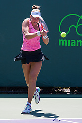 March 23, 2018 - Key Biscayne, FL, U.S. - KEY BISCAYNE, FL - MARCH 23: Beatriz Haddad Maia (BRA) in action on Day 5 of the Miami Open Presented at Crandon Park Tennis Center on March 23, 2018, in Key Biscayne, FL. (Photo by Aaron Gilbert/Icon Sportswire) (Credit Image: © Aaron Gilbert/Icon SMI via ZUMA Press)