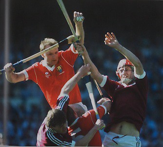 Cork's dual player Teddy McCarthy rises above Galway's Martin Naughton and Tom Monaghan in the 1990 All-Ireland Final.