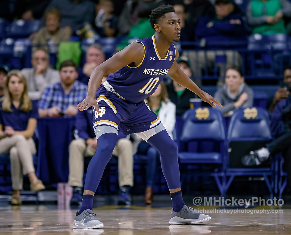 SOUTH BEND, IN - NOVEMBER 08: TJ Gibbs #10 of the Notre Dame Fighting Irish is seen during the game against the Chicago State Cougars at Purcell Pavilion on November 8, 2018 in South Bend, Indiana. (Photo by Michael Hickey/Getty Images) *** Local Caption *** TJ Gibbs