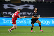 Cory Allen of the Ospreys (r). Guinness Pro14 rugby match, Ospreys v Scarlets at the Liberty Stadium in Swansea, South Wales on Saturday 7th October 2017.<br /> pic by Andrew Orchard, Andrew Orchard sports photography.