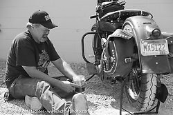 Motorcycle Cannonball organizer Lonnie Isam Jr at a pit stop during Stage 5 of the Motorcycle Cannonball Cross-Country Endurance Run, which on this day ran from Clarksville, TN to Cape Girardeau, MO., USA. Tuesday, September 9, 2014.  Photography ©2014 Michael Lichter.