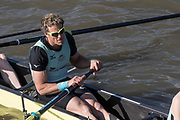 Putney, Great Britain, 17th March 2019, James CRACKNELL, sitting at 2, waiting for the start of the Pre Boat Race Fixture, Oxford University Boat Club vs Oxford Brookes, Championship Course, River Thames,   England, [Mandatory Credit; Peter Spurrier/Intersport-images],