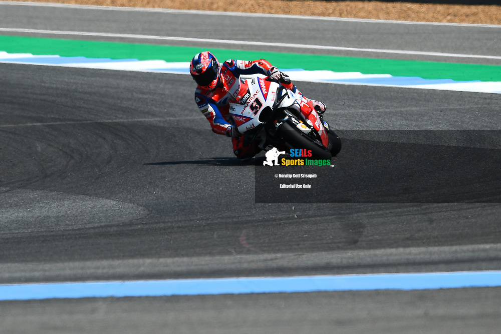 BURIRAM, THAILAND - OCTOBER 06: Danilo Petrucci (9) of Italy and Alma Pramac Racing in Turn 12 during FP3 at the MotoGP PTT Thailand Grand Prix 2018, Chang International Circuit, Buriram, Thailand on October 06, 2018. <br /> .<br /> .<br /> .<br /> (Photo by: Naratip Golf Srisupab/SEALs Sports Images)<br /> .<br /> Any image use must include a mandatory credit line adjacent to the content which should read: Naratip Golf Srisupab/SEALs Sports Images