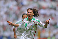 MEXICO () vs. JAMAICA () in their World Cup 2010 qualifying soccer match in Mexico D.F., September 6, 2008<br /> Here Mexican player Andres Guardado celebrating his goal.<br /> © PikoPress