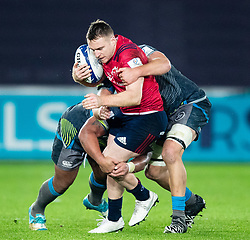 Rory Scannell of Munster  under pressure from Lloyd Ashley of Ospreys<br /> <br /> Photographer Simon King/Replay Images<br /> <br /> European Rugby Champions Cup Round 1 - Ospreys v Munster - Saturday 16th November 2019 - Liberty Stadium - Swansea<br /> <br /> World Copyright © Replay Images . All rights reserved. info@replayimages.co.uk - http://replayimages.co.uk
