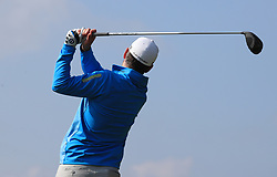 Oliver Farr tees off from the 2nd during day three of the Betfred British Masters at Hillside Golf Club, Southport.